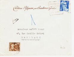 France, De Sauterne En 1951 Daguin Vin Blanc Unique Au Monde , Enveloppe Yquem TB - Marcophilie (Lettres)