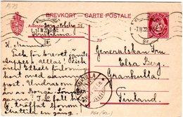 Norwegen P61, 25 öre Ganzsache 1922 V. Kristiania N. Finnland - Norway