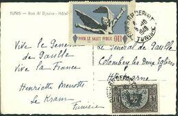 FRANCE LIBERATION.RR... DE GAULLE. .. CP Voyagée Avec Vignette Pour Le Salut Public - Covers