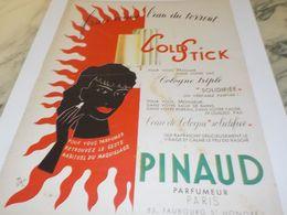 ANCIENNE  PUBLICITE COLD STICK DE PINAUD 1952 - Advertising