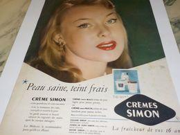 ANCIENNE PUBLICITE PEAU SAINE TEINT FRAIS CREME SIMON  1953 - Advertising