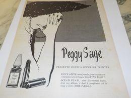 ANCIENNE PUBLICITEDEUX NOUVELLE TEINTES VERNIS A ONGLES PEGGY SAGE 1955 - Advertising