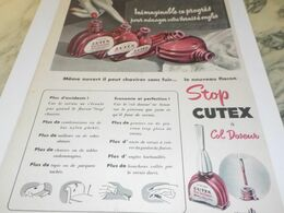ANCIENNE PUBLICITE VERNIS A ONGLES CUTEX 1953 - Advertising