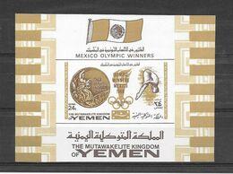 Yemen Kingdom Bloc Couleur Or Brun Très RARE JO 68 ** - Verano 1968: México