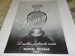 ANCIENNE PUBLICITE PARFUM  FEMME DE MARCEL ROCHAS  1954 - Advertising