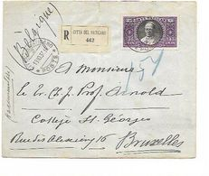 SH 0592. N° Yv.56 CITTA DEL VATICANO 18.10.37 S/Lettre RECOMMANDEE Vers BRUXELLES - Storia Postale