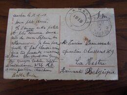 Carte Vue De Aachen Oblitérée P.M.B. N° 2 Pour Le CACHET PROVISOIRE à DOUBLE CERCLE En 1919 De LA HESTRE - Fortune Cancels (1919)