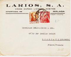 Espagne , En 1950 De Malaga , Perforés  L SA   TB - 1931-50 Lettres