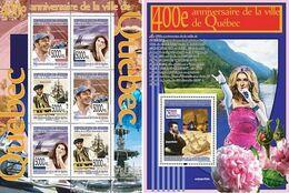 Guinea 2008, 400th Quebec, C. Dion, Villeneuve, F1, Ship, 6val In BF +BF - Singers