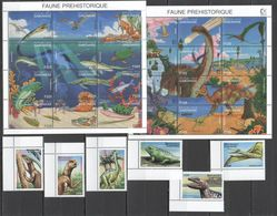 G1038 GABONAISE GABON FAUNA PREHISTORIC LIFE ANIMALS DINOSAURS !!! 1SET+2SH MNH - Timbres