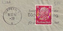 D-Oppeln 1941 - FSt. Spende Auch Du Für Die Büchersammlung . .  . Briefausschnitt (3.326) - Deutschland
