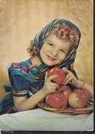 BAMBINA CON FRUTTA - ROTALCOLOR - VIAGGIATA 1960 - Portraits