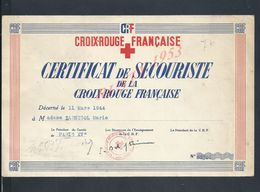 MILITARIA CROIX ROUGE FRANÇAISE CERTIFICAT DE SCOURISTE DECERNÉ 1944 À Mme SARNICOL MARIE ? PARIS XV - Documentos