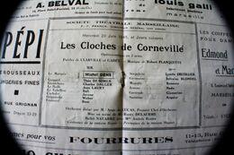 WW2 1944/45-LES CLOCHES DE CORNEVILLE-PROGRAMME THÉÂTRE DU GYMNASE MARSEILLE OPÉRA COMIQUE - Programmes