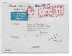 PERSE - 1966 - ENVELOPPE RECOMMANDEE Avec EMA + VIGNETTE AU DOS De TEHERAN => MONTREAL (CANADA) ! - Irán