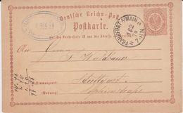 DR Brustschild Ganzsache P 2 Aptierter F-Stempel Frankfurt A Main 1874 - Interi Postali