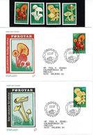 Faroe Islands; 1997 Mushrooms; Set Of 4 MNH(**) And On FDC (Populær Filateli) - Färöer Inseln