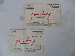 (Serge GAINSBOURG En Concert - 1985) - Lot De 2 Tickets D'entrée - Casino De Paris (N° 000012 Et 000014).....voir Scans - Tickets D'entrée