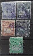 VENEZUELA 1932 Aereo, 5 Timbres Perforés , Fond De Sûreté,  Yvert No 20,24,26,34,35,  Obl TB - Venezuela