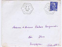 CHARENTE - Cachet Manuel Hexagonal VERRIERES Du 28 -10  1953 - Postmark Collection (Covers)