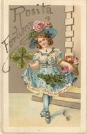 """Pretty Little Girl With Flowers"" Beautiful Antique Spanish Postcard - Szenen & Landschaften"
