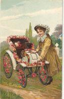 """Pretty Little Girl With Flowers  Carriage"" Beautiful Antique Spanish Postcard - Szenen & Landschaften"