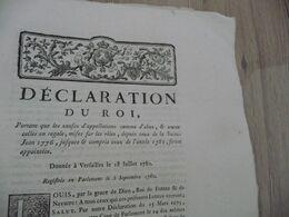 Déclaration  Du Roi 18/07/1780 Causes D'appellations Comme D'abus Mises Sur Des Rôles.... - Decrees & Laws