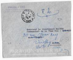 VIET-NAM - 1955 - ENVELOPPE FM Par AVION De TOURANE (VOIR CACHET AU DOS !)  => SP 71282 => VIROFLAY - Postmark Collection (Covers)