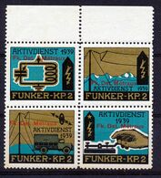 "HELVETIA - Soldatenmarken - Viererblock - ""FUNKER-KP. 2 AKTIVDIENST 1939 - FK.DET. METRAUX"" - MNH** -  (ref. 53) - Viñetas"