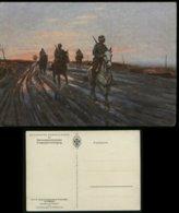 WW II DR Postkarte Mit Bild Pferde , Soldaten ,Deutsche Kavallerie - Patrouille In Russland, Farbig : Ungebraucht. - Deutschland