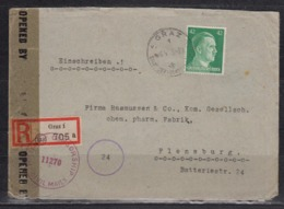 Dt.Reich/Ostmark Sog.Überrollerbrief  Einschreiben Von Graz 6.4.45 RF A795 Mit Britischer Zensur Nach Flensburg(Ak-o ) - Deutschland
