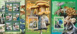 Guinea 2008, Mushrooms, Scheweitzer, Gorilla, 6val In BF +2BF - Guinee (1958-...)