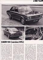 Feuillet De Magazine Audi  100 GL 1974 - Cars