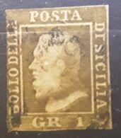 SICILIA SICILE 1859, Ferdinando II, Yvert No 19 A, 1 G Brun Olive BTB,cote 120 Euros - Sicilia