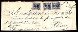 """ECUADOR. C.1881. Sagrario - Pillaro. Judicial Front Bearing 5c Blue X 3, With Special Cancel """"Rubrica"""". Deal! - Ecuador"""