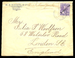 ECUADOR. 1895. Guayaquil - UK. 5c / 5 Sucres Fkd Env. Scarce + Fine. Opportunity! - Ecuador