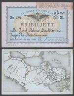 SWEDEN Train / Railway / Rail FREE PASS / TICKET For Railway LABEL VIGNETTE 1900 HUNGARY - Fribiljett / MAP - Europe