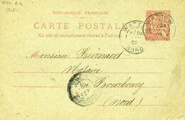 Carte Postale MOU A1 Type Mouchon 10c WATTEN 24/02/1902 Pour Bourbourg Nord - Postwaardestukken