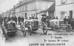 AUTOMOBILE-COUPE DES VOITURETTES 1908, 1er NAUDIN, 2eme SIZAIRE , 4eme LEBOUC, COUPE DE REGULARITE - Sonstige