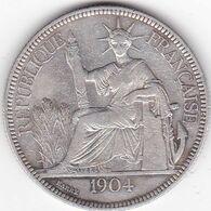 INDOCHINE FRANCAISE  PIASTRE DE COMMERCE ARGENT 27 GRS  1904  A - Francia