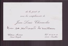 """Carte De Visite """" Charmolüe """" à Saint-Estèphe ( Pliures ) - Tarjetas De Visita"""