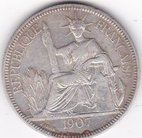 INDOCHINE FRANCAISE  PIASTRE DE COMMERCE ARGENT 27 GRS  1907  A - Francia