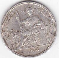 INDOCHINE FRANCAISE  PIASTRE DE COMMERCE ARGENT 27 GRS  1908  A - Francia