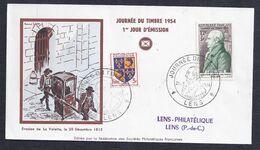 Enveloppe Federale Journee Du Timbre 1954 Lens - FDC