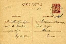 Carte Postale IRI A3 Type IRIS 80c VEYRE PUY DE DOME 3/9/41 Pour Ham Somme - Postwaardestukken