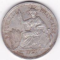INDOCHINE FRANCAISE  PIASTRE DE COMMERCE ARGENT 27 GRS  1921   H - Francia