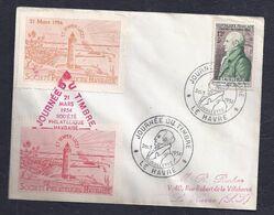 Enveloppe Locale Journee Du Timbre 1954 Le Havre Vignettes - FDC