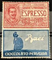 ITALY / ITALIA 1924/25 - MNH - Sc# E3 (not Issued) - Advertising Stamp / Francobollo Pubblicitario 60c - Cioccolato - Nuevos