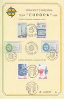 Europa Cept 1988 Andorra Fr & Sp + 2 Labels On Special Card (F8400) - 1988
