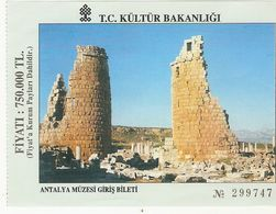 TURQUIE  1998 TICKET ENTREE MUSEE ANTALYA MUZESI GIRIS BILETI - Eintrittskarten